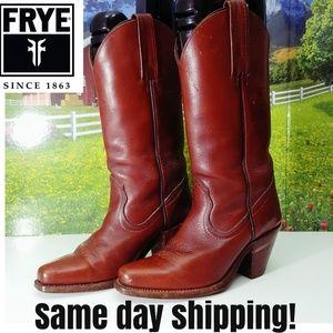Frye VTG Leather Boots Women's 5.5 B Burnt Orange